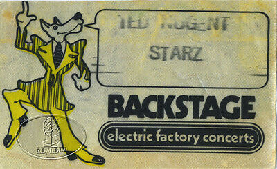 Ted Nugent & Starz 1977 Tour Backstage Pass