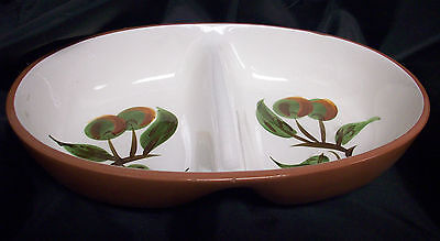 Stangl Orchard Song Oval Divided Vegetable Bowl with Chips