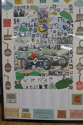 Mike Hawthorn,Fangio, Shelby,Phil Hill,Moss,Amon,Gurney,Gonzales signed display