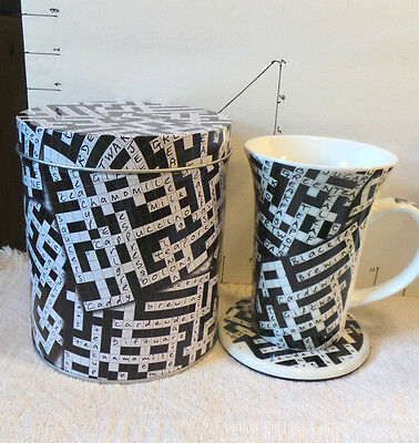 Crossword PuzzleTin Holding  Mug & Coaster, England, Designer Paul Cardew, 2008