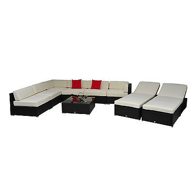 9 pc Outdoor Patio Rattan Wicker Sofa Sectional & Chaise Lounge Furniture Set