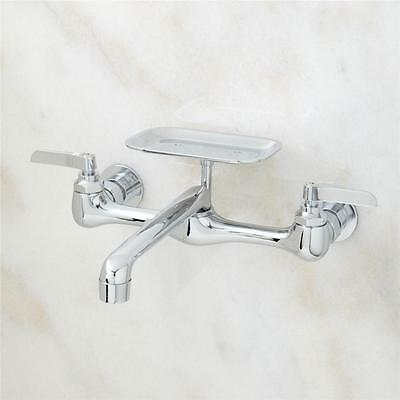 Plumbing Lever Handle Wall Mount Faucet With Soap Dish Solid Brass Chrome Finish