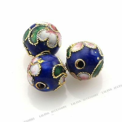250x New Enamel Flower Round Charms Cloisonne Spacer Bead 8mm Wholesale 160190