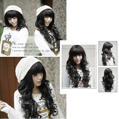 XD# Sweet Girl Vogue Stylish Fluffy Natural Black Curly Wavy Long Hair Full Wig