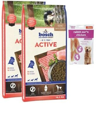2x15kg Bosch Adult Active + 80g Fleischsnacks