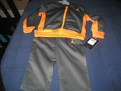 BOYS THERMA FIT  NIKE AIR JORDAN TRACK SUIT SIZE 2T GRAY/ORANGE  MSRP $68 NWT