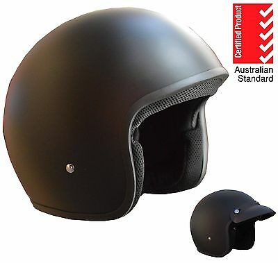Open Face Helmet Matt Black Suit Harley Scooter Motorbike Motorcycle Cruiser New