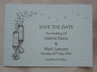 100 Save The Date Cards Wedding Personalised A7 Size Champagne