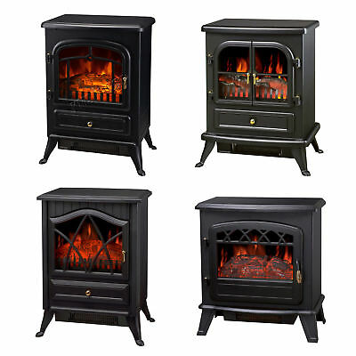 Log Burning Flame Effect 1850W Electric Fire Heater Standing Fireplace Stove Fan