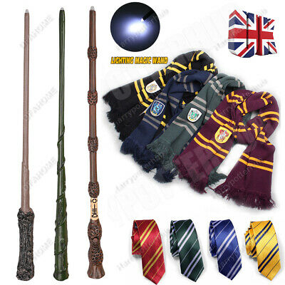 """Harry Potter Hogwarts Wizard 14"""" LED Wand Scarf Tie in Box for Book Day Costume"""