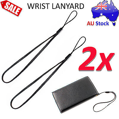 2x Black Wrist Strap Lanyard for Camera Phone Smartphone iPod iPhone USB mp3 mp4