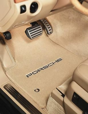 Porsche 911 Plush Carpet Floor Mats- logo -Light Beige-Lloyd 32oz Fits 2005-2012