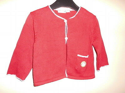 Pull Tricoter Rouge Pour Fille Manche Longue Marque Cirio Taille 80