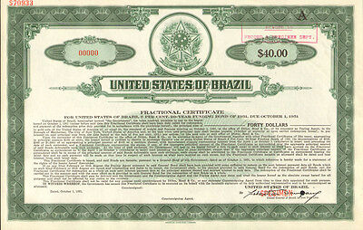 United States of Brazil > Estados Unidos do Brazil >> specimen stock certificate