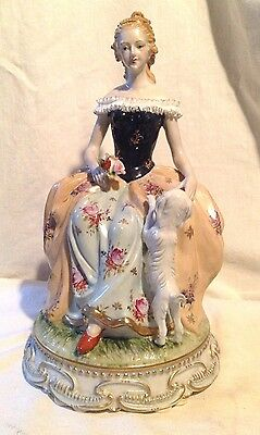 "Dresden Porcelain Figurine ""Lady with Dog"""