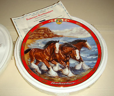 SUSIE MORTON Budweiser Pride Silky-Haired Legged Clydesdales BEACHCOMBERS Plate