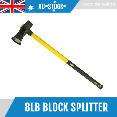 "NEW 8LB 35"" Fiberglass Handle Wood Pile Camping Axe Blocksplitter Block Splitter"