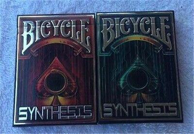 New Set of 2 Bicycle Synthesis Red & Limited Blue Cyberpunk Playing Cards Decks