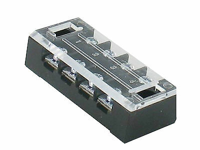 Lot 5 -- 4 Position 25A 600V Barrier Dual Row Terminal Block/Strip w/Cover RoHS