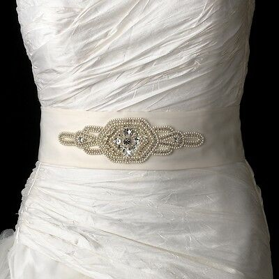 Pearl & Rhinestone Beaded Wedding Sash Bridal Belt White or Ivory
