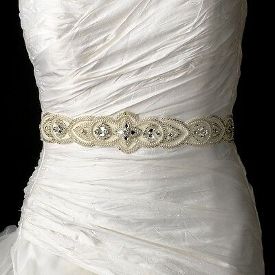 White or Ivory Pearl & Silver Beaded Bridal Wedding Sash Belt with Rhinestones