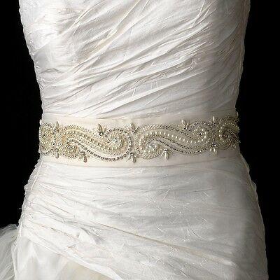 White or Ivory Pearl Rhinestone Bugle Bead Swirl Design Wedding Sash Bridal Belt