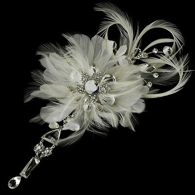 Vintage Bridal Feather Flower Crystal Wedding Dress Brooch Pin or Hair Clip Comb