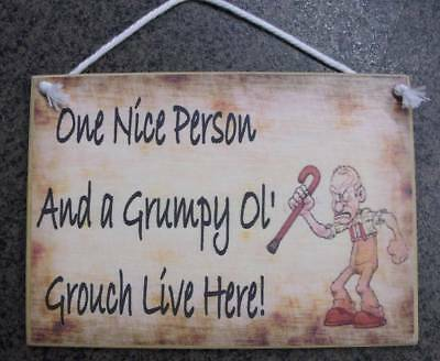 Country Printed Quality Wooden Sign with Hanger ONE GRUMPY PERSON Plaque New