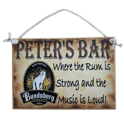 Country Printed Quality Wooden Sign & Hanger *Rum Bar sign  personalized* plaque
