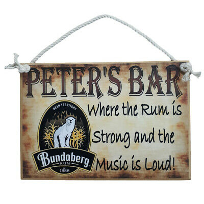 Country Printed Quality Wooden Sign with Hanger RUM BAR PERSONALIZED Plaque New