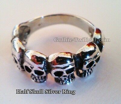 Multi Skull Silver Ring size S, Gothic, Wicca, Pagan, Rock, Alternative New