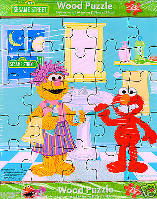 25pc Sesame Street ELMO BRUSHES HIS TEETH Beginners Wooden Puzzle Ages 3+