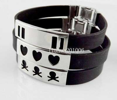 Wholesale Men's jewelry 12 pcs quality black rubber stainless steel bracelets