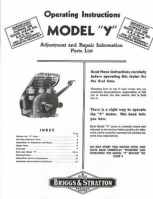 Briggs & Stratton Model Y Operating Instructions Gas Engine Hit Miss Motor