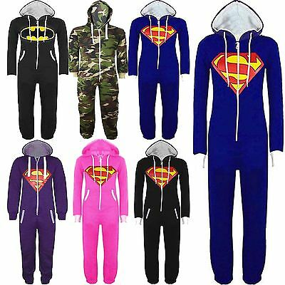 New Mens Womens Unisex Batman Superman Hooded Zip Jumpsuit Onesie Size S M LXL