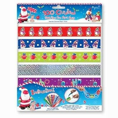 Printed Holographic Christmas 100 Paper Chains Strip Party Decorations 10 Design