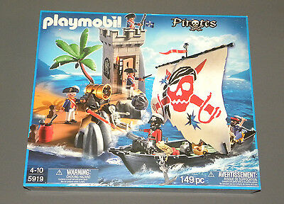 Playmobil Set 5919 Bastion Pirates Fort w Small Pirate Ship NEW Sealed