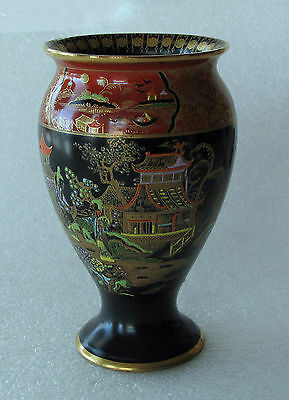"CARLTON WARE  VASE SUPERB TEMPLE PATTERN BLACK AND GOLD 1927 - 6"" HIGH"