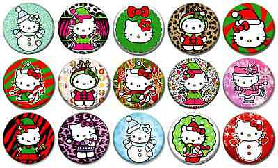 """HELLO KITTY CHRISTMAS - Lot of 15 Pin Back 1"""" Buttons Badges (One Inch) – Set"""