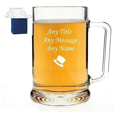 Personalised Engraved 1 Pint Dimple Glass Tankard Wedding Best Man, Usher Gift