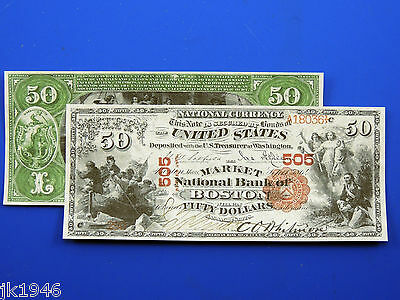 Reproduction $50 1875 National Bank Note US Paper Money Currency Copy