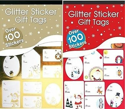 100 Christmas Red Green Glitter / Foil Silver Gold Sticker Gift Tags Labels Xmas