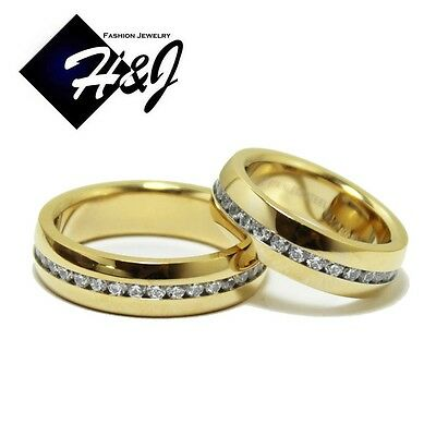 His & Hers 2 Pcs Stainless Steel 6mm Gold Eternity CZ Wedding Band Ring SETS