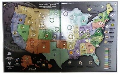 "Complete 56-coin ""D"" State Quarter Series Set with State &Territory  Quarter Map"