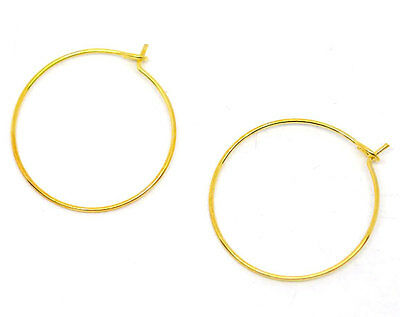 100 GOLD PLATED 25mm WINE GLASS CHARM RING/EARRING WIRES~HOOP~Wedding~Table (W1)