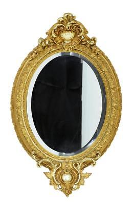 19Th Century Carved Burnished Gilt Oval Mirror