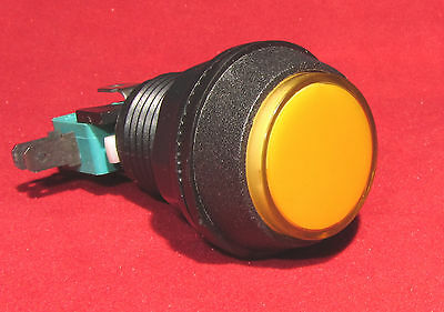 Yellow Lighted Full Size Arcade Machine Push Button with Switch - Click Action