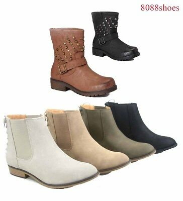 Women's Cowgirl Round Toe Low Heel Ankle Mid-Calf Boots Shoes  Size 5.5 - 10 New
