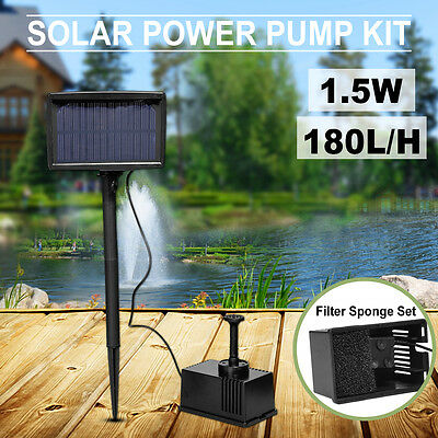 1.5w Solar Fountain Submersible Outdoor Water Pump Garden Pond Feature Kit Panel