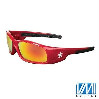 MCR Crews SR13R Swagger Safety Glasses Crimson Red Frame Fire Mirror Lens Pair